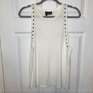 The Kooples White Tank Top with Studs
